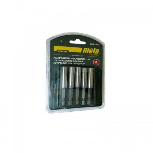 """Pack 5 adaptadores hexagonal ¼"""" magnético."""