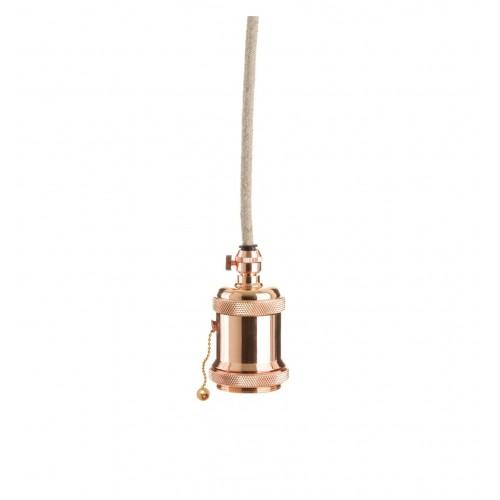 Portalámparas E27 Metal Cobre C/Interruptor Cadena