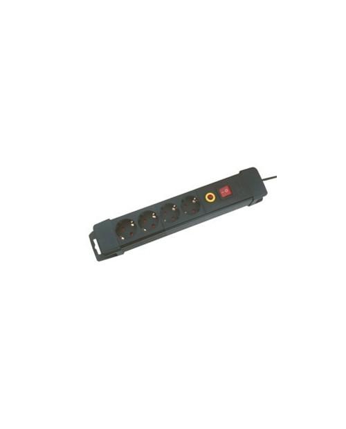 Base 4 Tomas Con Interruptor 1.5m 3x1.5mm Negra.