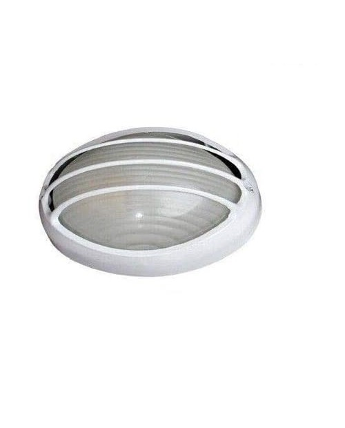 Aplique Semiovalado Rejilla Aluminio Blanco E27